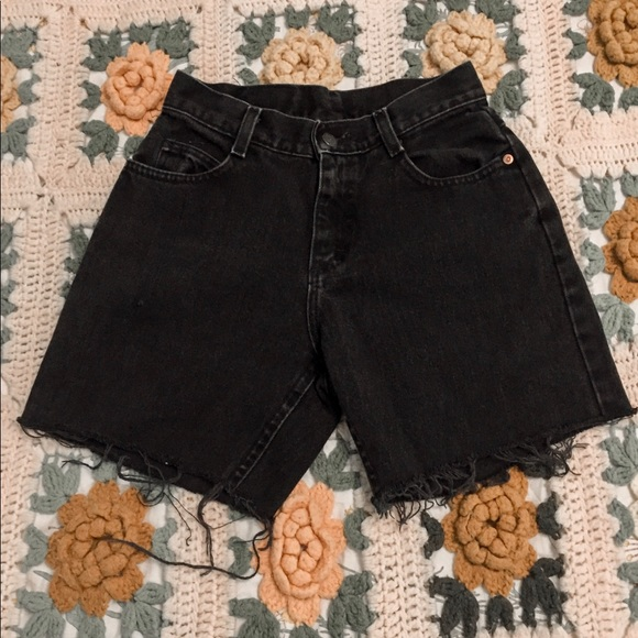 Lee Pants - lee cutoff black mom jean shorts!